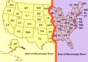 Map Of Mississippi River Showing East And West States