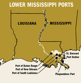 Map Of Ports On The Lower Mississippi River